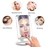 TriFold Illuminated Vanity Makeup Mirror, with 21 LED, Touch Screen, 180° Adjustable Stand, 1x/2x/3x Magnification, Batteries and Usb Charging