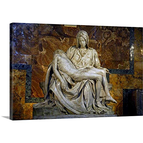 (Italy, Vatican City, Michelangelo's Masterpiece Sculpture, Pieta, St. Peter's Basilica Canvas W.)