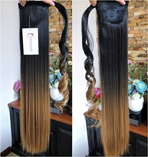 22 Long Straight Ombre Dip Dyed Clip in Wrap around Ponytail Hair Extensions Hairpieces(22 Straight- Natural black to honey blonde)