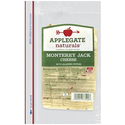 Applegate Naturals Monterey Jack Cheese with Jalapeno Peppers, 8 Ounce (Pack of 12)