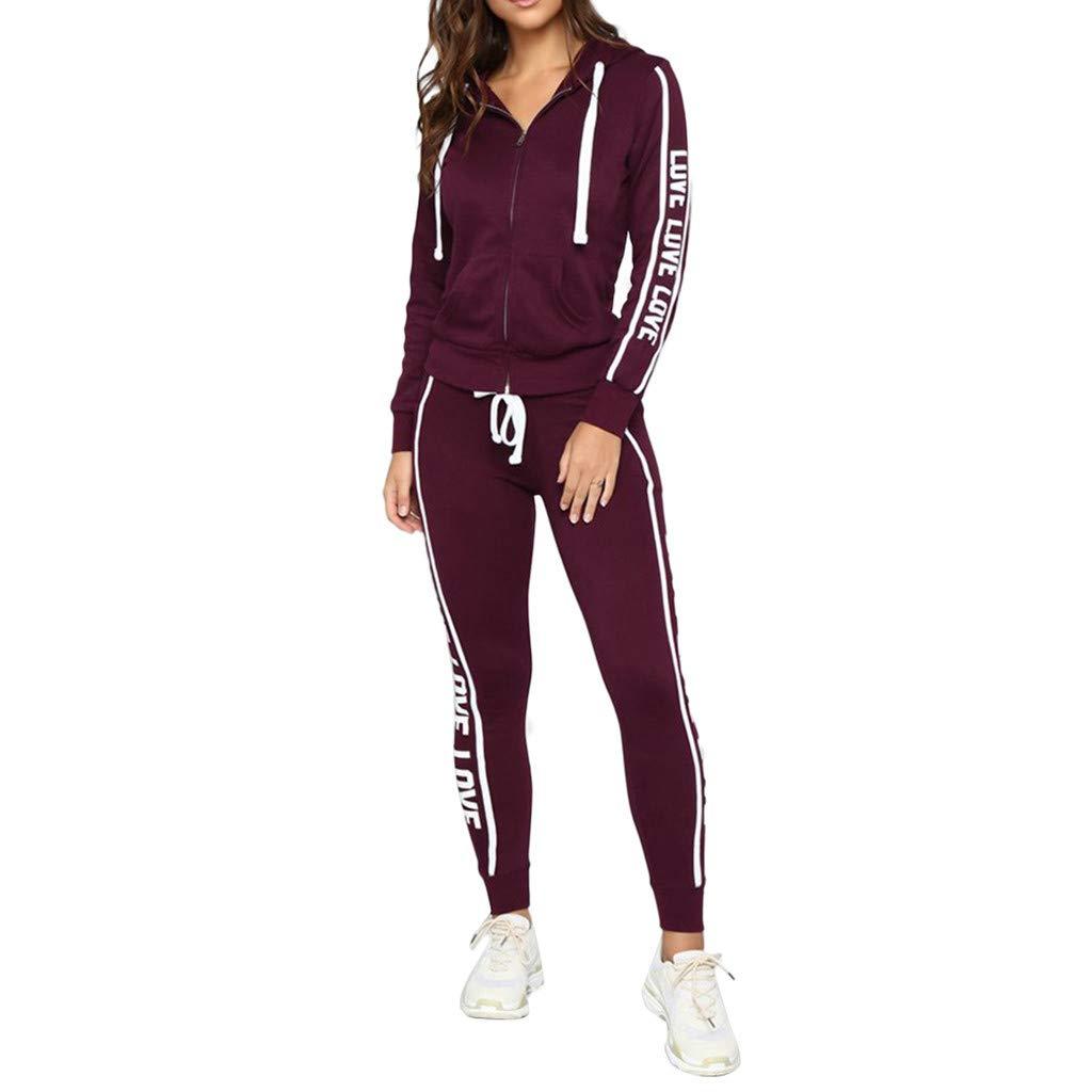 2Pcs Women Tracksuit Casual Stripe Zipper Long Sleeve Pullove Sport Tops+Long Pants Set