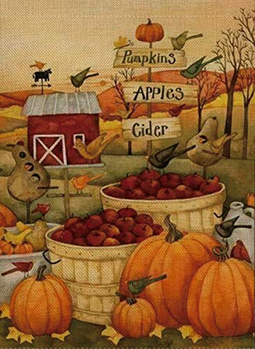 Apple Rustic (Selmad Home Decorative Thanksgiving Garden Flag Pumpkin Double Sided, Rustic Fall Birds House Yard Flag Apples, Primitive Autumn Harvest Yard Decorations, Vintage Cider Seasonal Outdoor Flag 12 x 18)