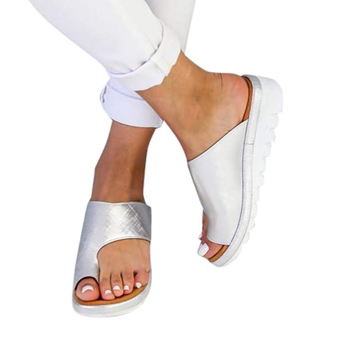 MAIKALUN Corrector de juanetes, Sandalias correctivas de Piel sintética Suave Que reducen el Dolor de juanetes por fricción para la Mujer, se Adapta a la ...