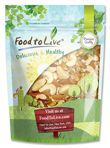 Mixed Raw Nuts by Food to Live (Cashews, Brazil Nuts, Walnuts, Almonds), Unsalted, Bulk — 1 Pound
