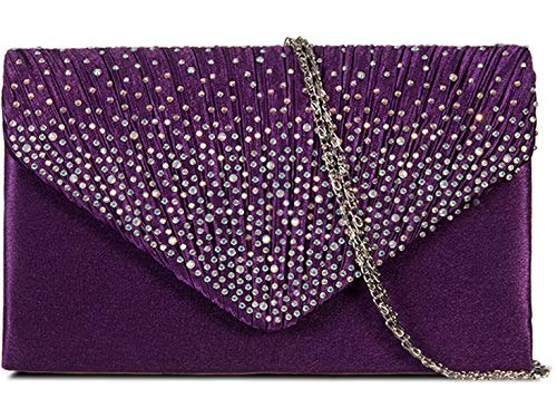 Handbags Diamante 074 Crystal 299 Bag Wedding Prom Purple Beaded Bridal LeaHWard Clutch Purses Sparkly SFxqY