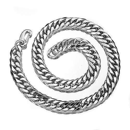 - W/W Lifetime Mens Stainless Steel Hip Hop Xxxtentacion Adjustable Choker Curb Cuban Link Chain Rapper Necklace
