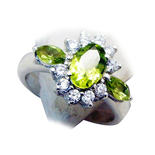 Jewelryonclick Genuine Peridot Vintage Engagement Rings For Women Cluster-setting Size 5,6,7,8,9,10,11,12
