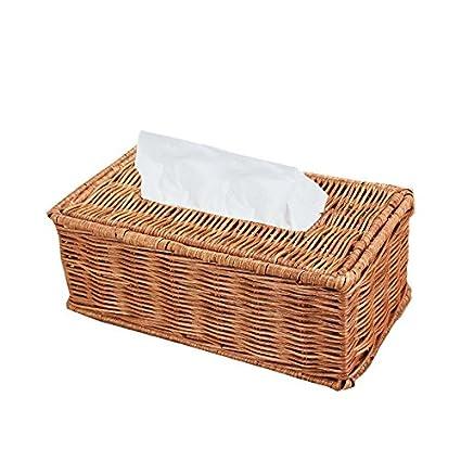 Ratán caja de pañuelos Kleenex con tapa con tapa superior para decoración del hogar, color