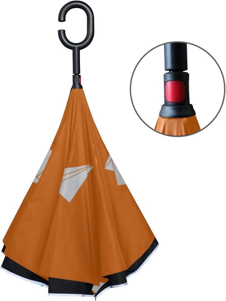 Double Layer Inverted Inverted Umbrella Is Light And Sturdy Paper Plane Pattern Repeat Orange Reverse Umbrella And Windproof Umbrella Edge Night Refl