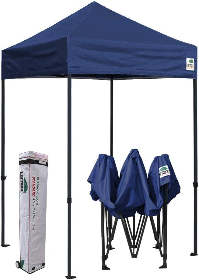 Eurmax 5×5 Ez Pop up Canopy Outdoor Heavy Duty Instant Tent Pop-up Canopies Sun Shelter with Deluxe Wheeled Carry Bag Navy Blue