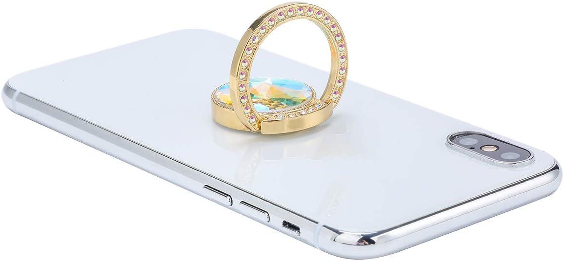 Gold Glitter Bling Bling Phone Ring Holder,Sparkle Phone Ring Artificial Diamond Kickstand,Rhinestone Cell Phone Finger Ring Grip for Girls Women for Almost All Phones,Pad