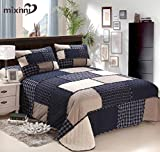 mixinni Cotton Geometric Pattern Bedding 3 Piece Bedspread Quilt Set With Two Matching Shams-(Navy Blue,King Size)