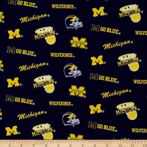 Sykel Enterprises Collegiate Cotton Broadcloth University of Michigan Wolverine Fabric by The Yard, ()