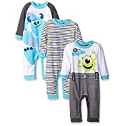 Disney Baby Monsters Inc Mike and Sully Coveralls, Blue, 12 Months (Pack of 3)