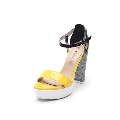 f5cc1e100bc9fc Tipe e Tacchi   heeled sandals woman colour yellow   blue   black   white- green floral fabric  Amazon.co.uk  Shoes   Bags