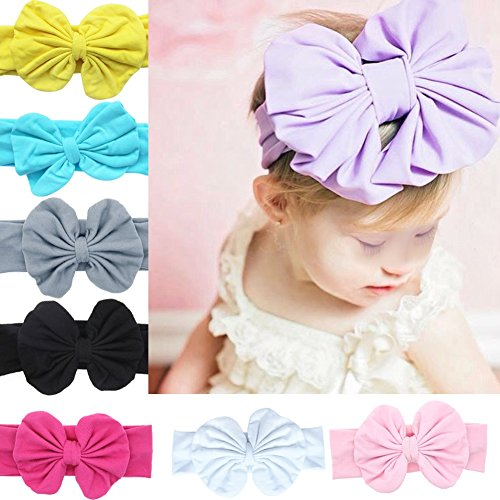 FEESHOW 8 Pack 5.5 Inch Baby Girl Big Bow Headband Hair Bow Band Turban Headwrap (8 Pack Big Bow Band)