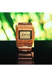 Men's Wooden Digital Watch. 100% Natural Wood. Dark Brown Color