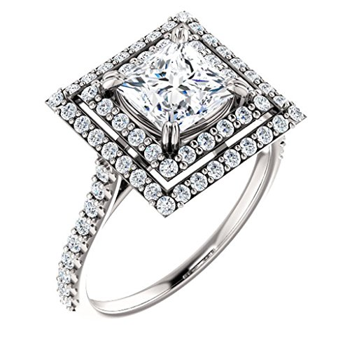 (Double Halo Princess Cut Diamond Engagement Ring 14k White Gold 1 1/4ct. TDW)