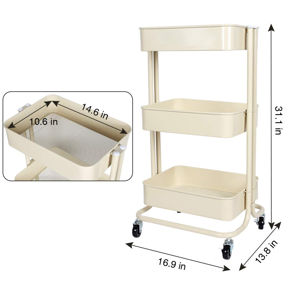 Lemonda Heavy Duty Multifunctional 3-Tier Rolling Utility Cart Storage Shelves Trolley with Mesh Basket and Wheels for Bathroom,Kitchen,Office Organizer