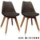 Krei Hejmo Plastic Dining Chair Side Chair with Wood Base – Set of Two (2) (Brown)