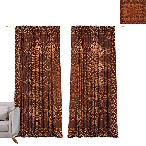 Children Blackout Curtain Antique,Vintage Lacy Persian Arabic Pattern from Ottoman Empire Palace Carpet Style Art, Orange Brown W84 x L108 Living Room Curtain ()