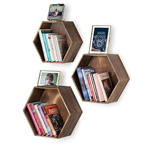 - Rustic State Brooks Wall Mount Hexagon Wooden Box Shelf | Distressed Walnut Varying Sizes Set of 3