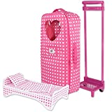 18 inch Doll Travel Carrier Trolley with Foldable Bed and Accessories Fits American Girl Doll