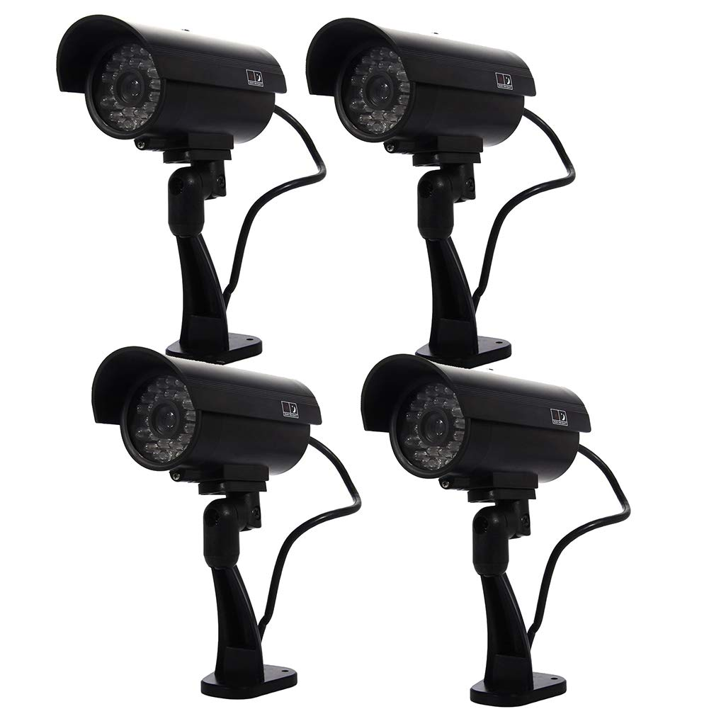 ALPEG Fake Security Camera, with Realistic Simulated LEDs,Warning Sticker,Dummy Cameras CCTV Surveillance System,for Home Security,B,4pack