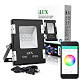 Cheap LE iLUX Smart Outdoor LED Flood Light, 10W RGB, Dimmable, IP65 Waterproof, Bluetooth Remote Control for iOS and Android, Color Changing with Music, Perfect for Home, Garden, Balcony and More