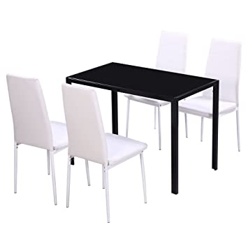 Vidaxl Ensemble Table Et Chaises Pour Salle A Manger Cinq Pieces Noir Et Blanc