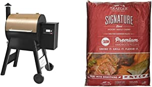 Traeger, TFB57GZEO, Pro Series 575, Grill, Smoker, Bronze & Traeger Grills PEL331 Signature Blend 100% All-Natural Hardwood Pellets - Grill, Smoke, Bake, Roast, Braise, and BBQ (20 lb. Bag)