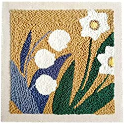 Yamix DIY Rug Hooking Kit for Beginners Handcraft Woolen Embroidery Punch Needle Starter Kit for Kids and Adults (Narcissus)