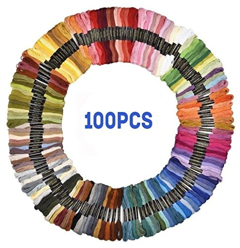 Premium 100 Skeins Embroidery Floss Cross Stitch Threads Pack Friendship Bracelets Floss Soft Cotton Sewing Threads for Art Craft DIY, 8m 6 Strands Rainbow Color