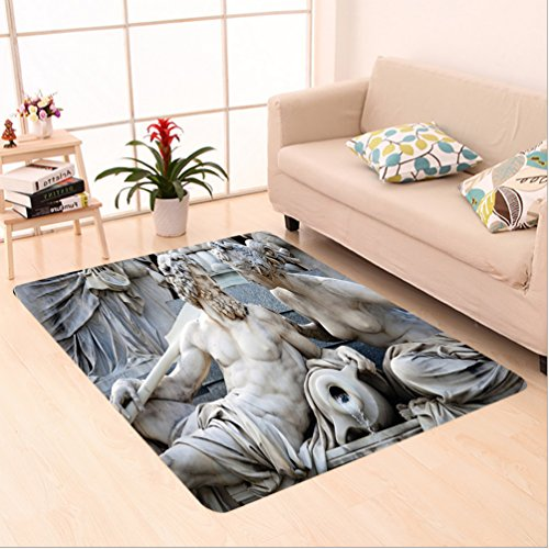 4 Foot Statue (Nalahome Custom carpet on Male and Female Statues Athena Fountain in front of the Building of Austrian Parliament Ivory area rugs for Living Dining Room Bedroom Hallway Office Carpet (2' X 4'))