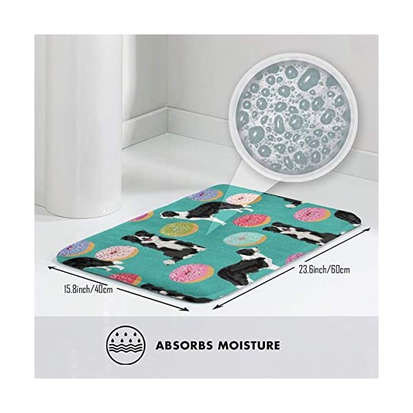 "Border Collie Dogs Donut Fabric Cute Donuts Design Cute Border Collies Fabrics Border Collies Fabrics Floor Bath Entrance Rug Mat Absorbent Indoor Bathroom Decor Doormats Rubber Non Slip 15.7"" X 23.5"" 3"