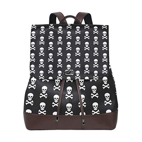 Leather Halloween Skull And Bones Backpack Daypack Bag Women ()