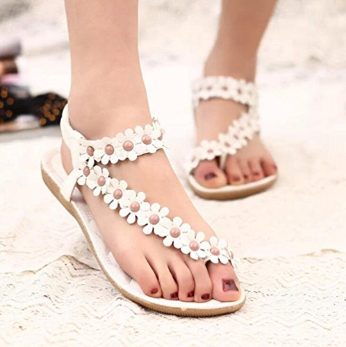 YOUJIA Mujeres Bohemia Flores dulces Sandalias Diamante de imitación Sandalias Plano Zapatos de Playa Blanco