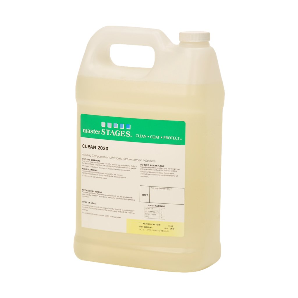 Master STAGES CLEAN2020 1G Clean 2020 Washing Compound for Ultrasonic and Immersion Washers Pale Yellow 1 gal Jug