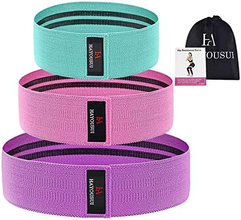 Hayousui Exercise Resistance Bands for Women - Hip Booty Bands Stretch Workout Bands Cotton Resistance Band for Legs and Butt Body Yoga Pilates Muscle Training 8