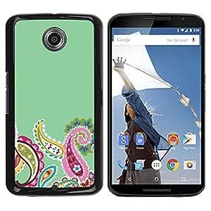Be Good Phone Accessory // Dura Cáscara cubierta Protectora Caso Carcasa Funda de Protección para Motorola NEXUS 6 / X / Moto X Pro // Indian Floral Pattern Green Pink Minimalist