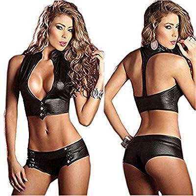 Women Sexy Lingerie Bikini Sets FairyDreamy Nightclub Nightwear Dress Patent Leather Bodysuit Pole Dancing Bodycon Clubwear One-piece Sets