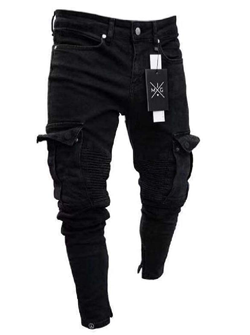 GRMO Men Multi-Pockets Stretchy Ruched Ripped Distressed Jogger Cargo Denim Pants Jeans