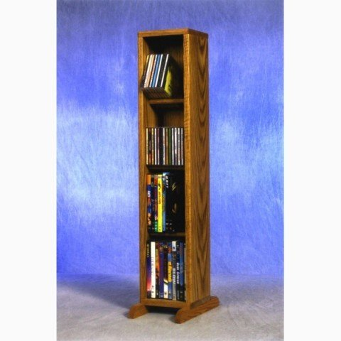 Wood Shed Solid Oak 4 Row Dowel CD/DVD Cabinet Tower Clear