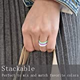 Mokani Silicone Wedding Ring for Women, 10/4/1 Pack Thin and Braided Rubber Band, Fashion, Colorful, Comfortable fit, Skin Safe