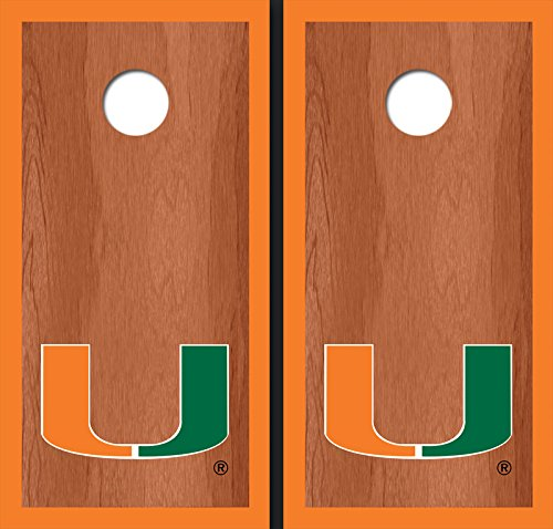University of Miami Orange Rosewood Matching Border Borders Cornhole Boards