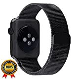 Apple Watch Band Milanese Loop 42mm Replacement Band Series 1, 2, 3 & Nike+ Stainless Steel Mesh Double Electroplated Magnet Band for Apple iWatch with Updated Magnetic Clasp Hold (Black)