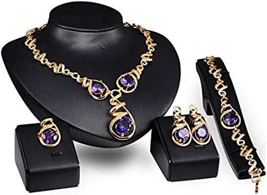 ZHBSS Señoras de Fiesta de Cuatro Piezas de aleación de Piedras Preciosas de Color púrpura con el Mismo Conjunto de Joyas