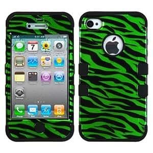 Quaroth MYBAT TUFF Hybrid Phone Protector Cover for Apple iPhone 4/4S - Retail Packaging - Dark Green/Black Zebra