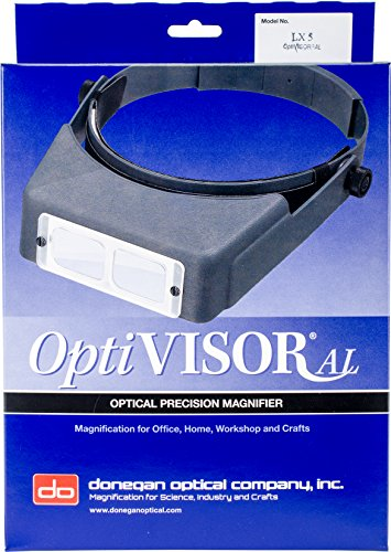 - Donegan LX-5 OptiVISOR Headband Magnifier, 2.25X Magnification Optical-Grade Acrylic Lens Plate, 8