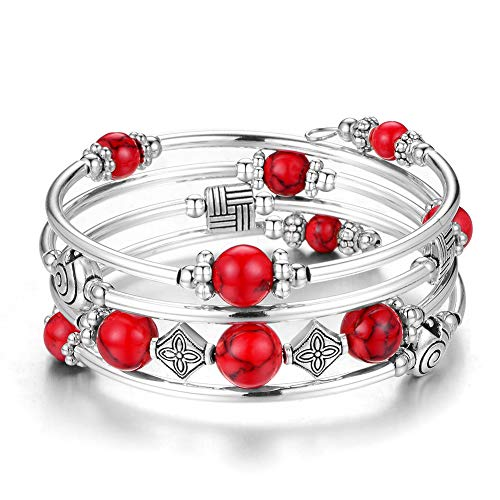 Beaded Pearl Bangle Wrap Bracelet - Fashion Bohemian Jewelry Multilayer Charm Bracelet with Thick Silver Metal Beads, Gift for Women and Girls (Turquoise red ()